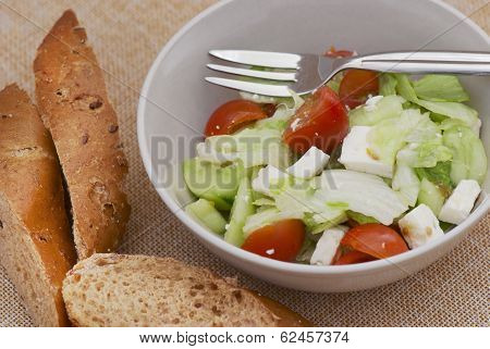 Fetta Salad With Slices Of Bread