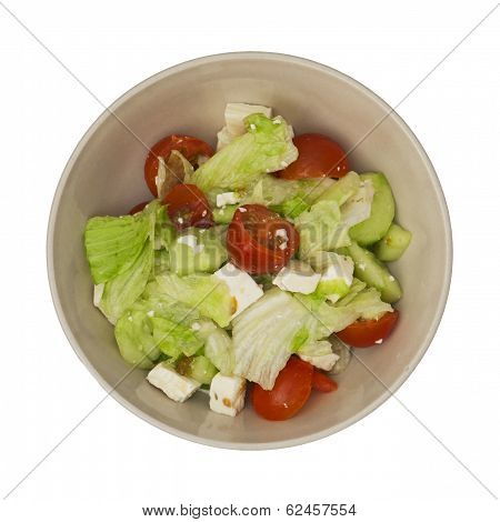 Bowl With Fetta Salad On A White Background