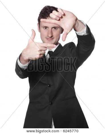 Businessman Framing His Face