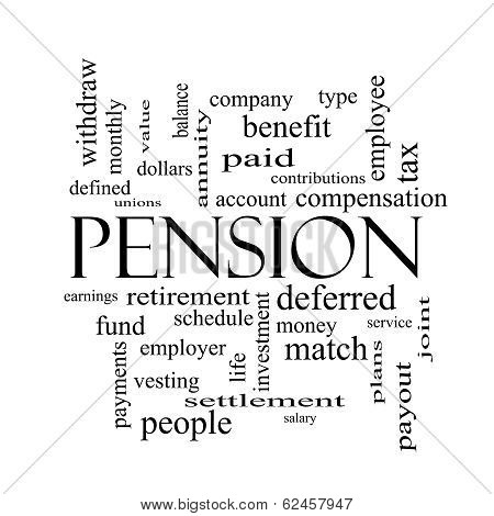 Pension Word Cloud Concept In Black And White