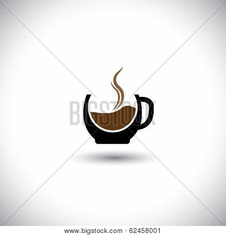 Freshly Brewed Coffee In A Porcelain Mug - Abstract Vector Graphic