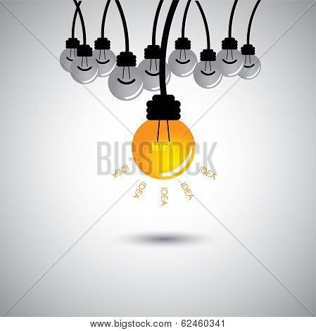 One Light Bulb Glowing With Ideas - Success Concept Vector
