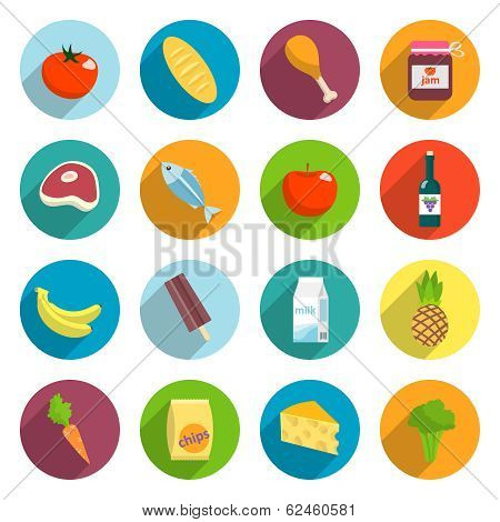 Supermarket Foods Flat Icons Set