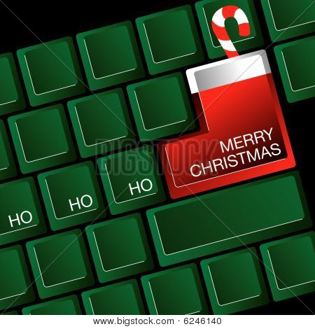 A computer keyboard  return key is a Christmas stocking