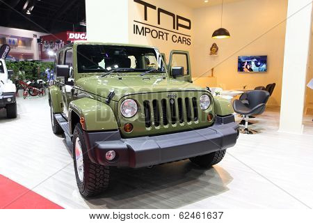 Nonthaburi - March 25: Jeep Sahara Wrangler Unlimited Car On Display At The 35Th Bangkok Internation