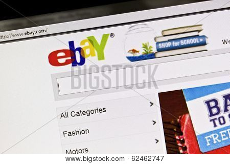 Ostersund, Sweden - July 24, 2011: Close up of ebay's website on a computer screen. ebay is one of the largest online auction and shopping websites in the world.