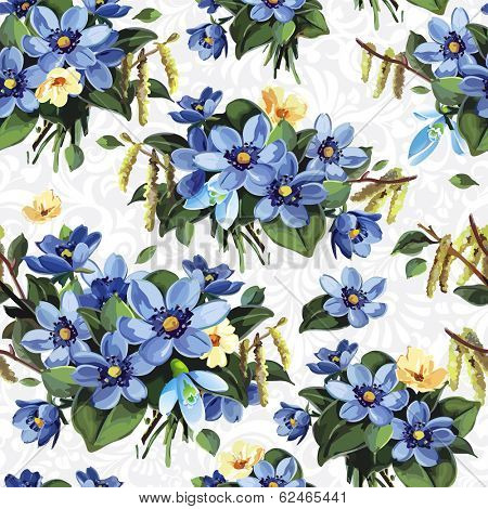 Elegance Seamless vintage flower pattern, vector illustration