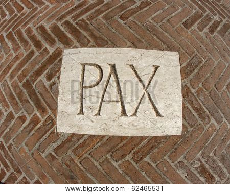 Inscription Pax As A Symbol Of Peace On A Plaque 1