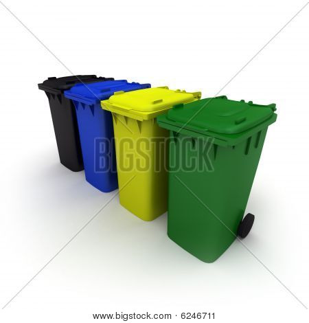 Four Plastic Recycling Bins
