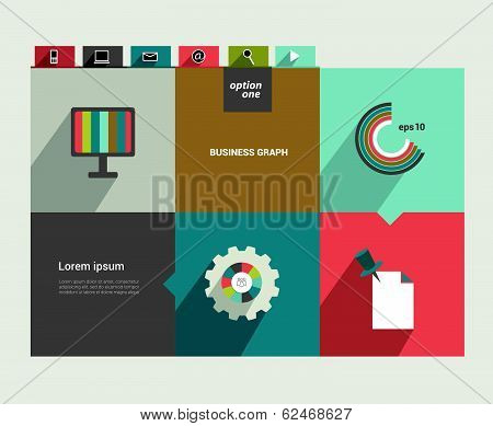 Modern flat website template. Colorful minimalistic option banner. Vector illustration. Box diagram.