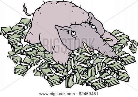 Rich Elephant Lying On Money