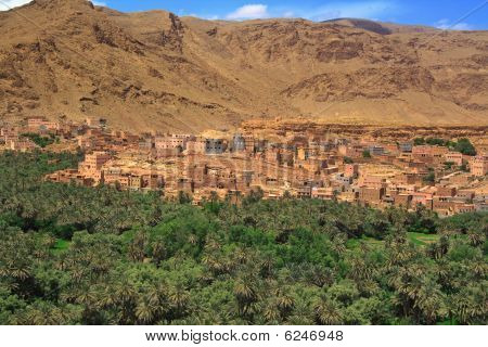 Panorama Of A Village Among Moroccan Hills