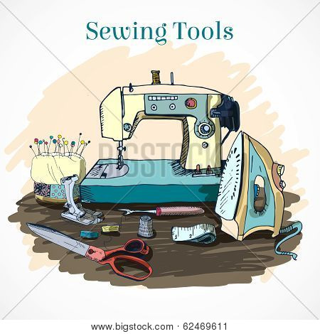 All for sewing. Vector set in retro style