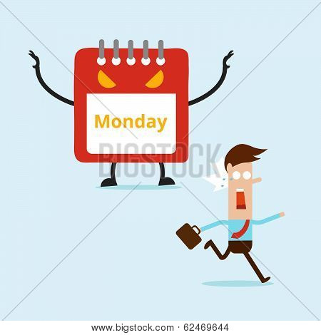 Business Man Running From Monday Monster