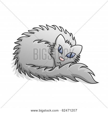 Light Grey Fluffy Cat Vector Illustration