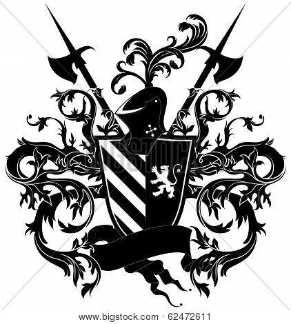 ornamental shield with armor