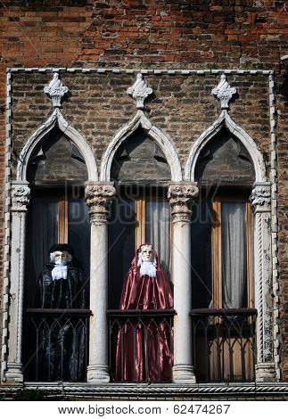 Carnival Decorated Window And Balcony In Venice