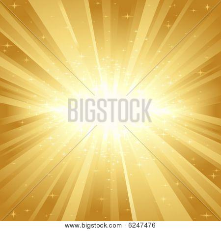 Golden light burst with stars
