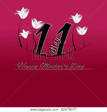 Happy Mother's Day On May 11Th. 11 May Tucked With Pocket On A Red Background