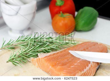 Salmon Steak And Fresh Vegetables