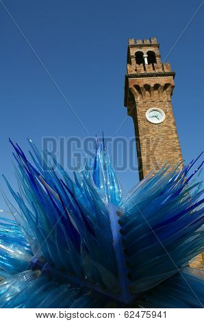 Murano Blue Sculpture And Bell Tower Clock In Venice