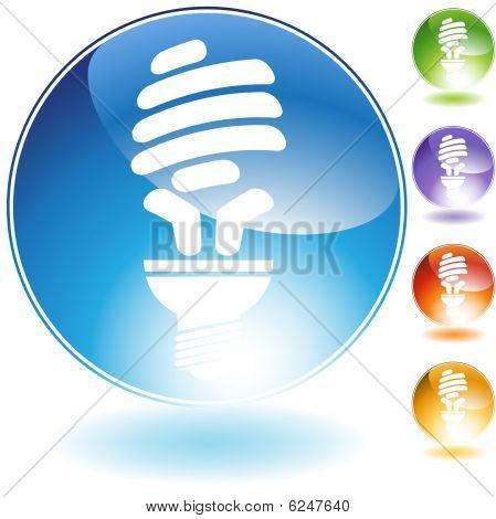 energy saving lightbulb crystal icon