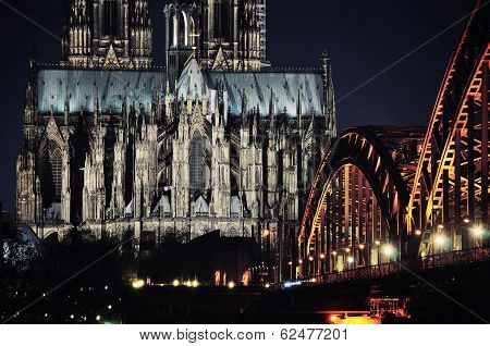 Cathedral And Hohenzollern Bridge In Cologne