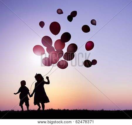 Children Running With Balloons at Sunset