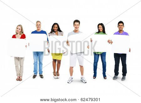Multi-Ethnic Group Of People Holding 6 Blank Placards