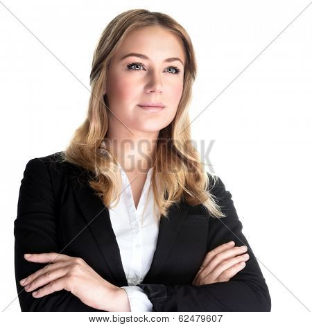 Closeup portrait of beautiful business woman isolated on white background, executive director, young successful people concept
