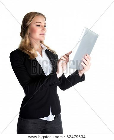 Business woman working with tablet isolated on white background, modern computer widget, internet communication, successful people concept