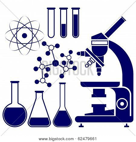science and chemistry icons set vector  illustration