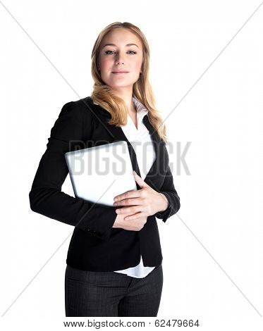 Portrait of attractive successful businesswoman holding in hands map-case isolated on white background, new technology, expensive gadget for work