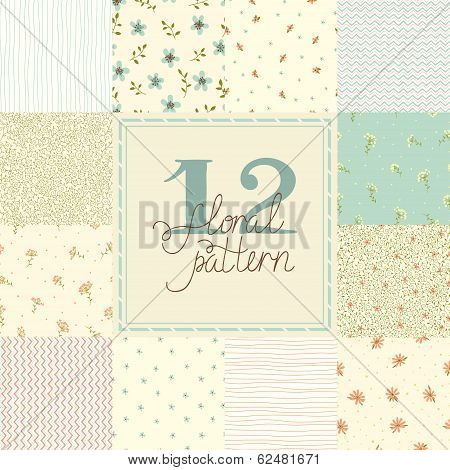 12 Elegant romantic vector seamless patterns (tiling).