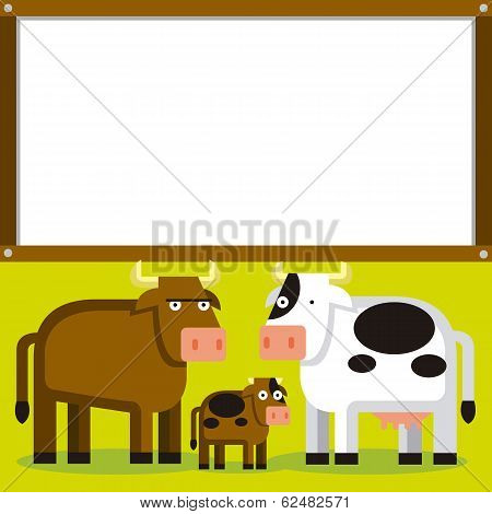 Vector Cute Cartoon Bull Cow And Calf With Space For Text