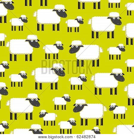 Vector Background With A Herd Of Sheeps On A Field
