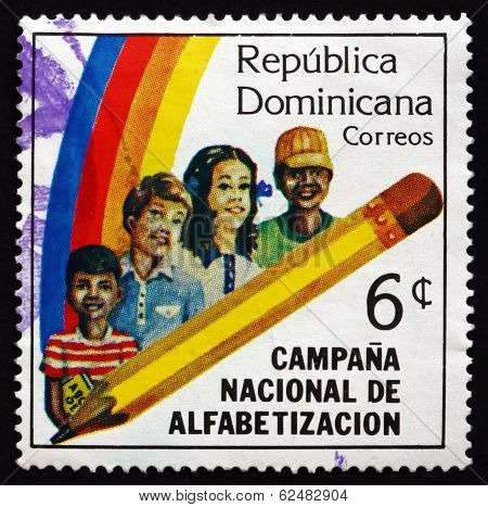 Postage Stamp Dominican Republic 1983 Children And Pencil