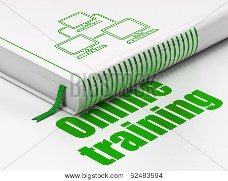 Education concept: book Lan Computer Network, Online Training on white background