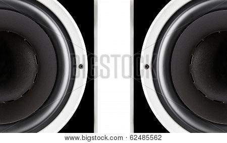 Pair Of Black Audio Speakers Membrane