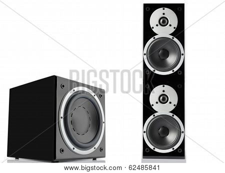 Black Loudspeaker And Subwoofer