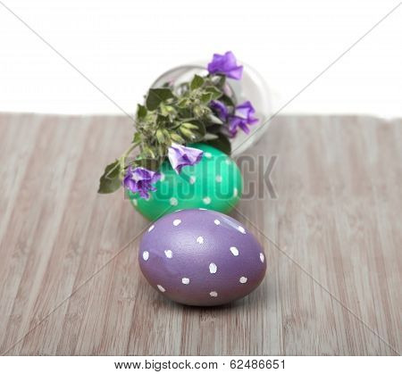 Square Frame With Easter Eggs On Wood