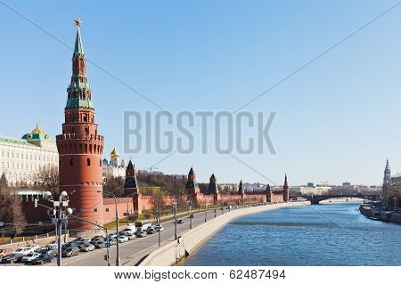 Kremlin Embankment And Moskva River In Moscow