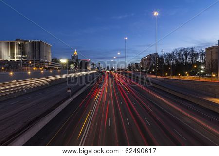 ATLANTA, GEORGIA - February 15, 2014: Editorial night view of Atlanta's busy Interstate 75 and 85 freeways through downtown.