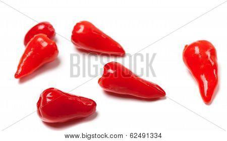 Piri-piri Hot Peppers On White Background