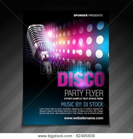 vector disco party flyer brochure design