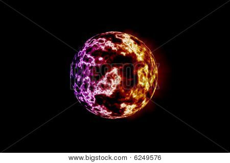 Fiery Flames On Red Yellow And Purple Planet
