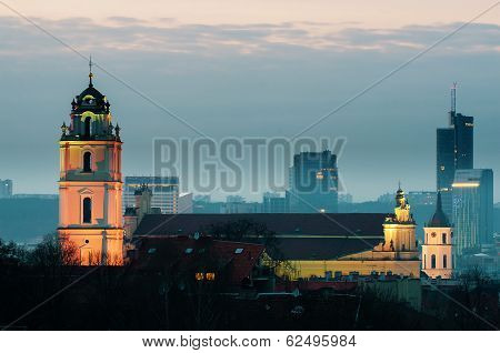 Vilnius, Lithuania at night. View from The Bastion of City Wall