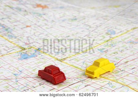 Plastic Miniature Cars On Map