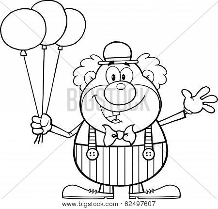 Black and White Funny Clown Cartoon Character With Balloons And Waving