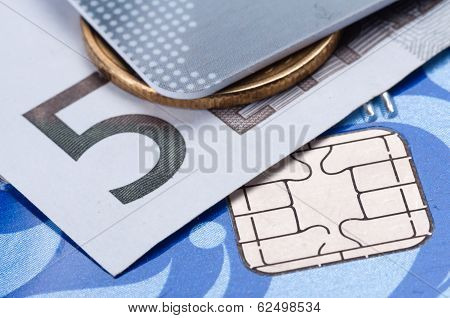 Credit Card, Banknote And Coin